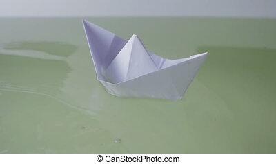 eau, flotter, papier, quelques-uns, bateau