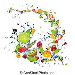 eau, fruits, éclaboussure, frais, fond, tomber, isolé, blanc
