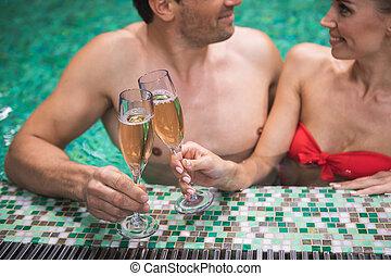 eau, gai, couple, boire, alcool