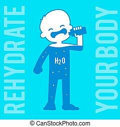 eau, garçon, boire, silhouette