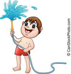 eau, garçon, peu, tuyau, jouer