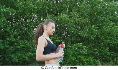 eau, girl, bouteille, boissons