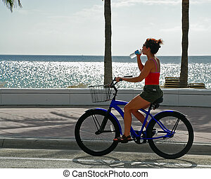 eau, girl, vélo, boissons