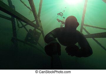 eau, him., aller, au-dessus, deap, structure, freediver