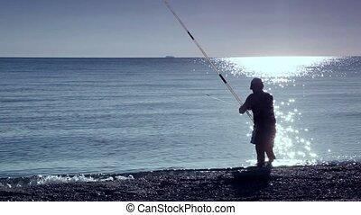 eau, homme, stands, mer, peche