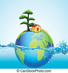 eau, la terre, éclaboussure