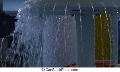 eau, lent, aquapark., mouvement, park., ruisseaux, piscine, écoulement, enfants, amusement