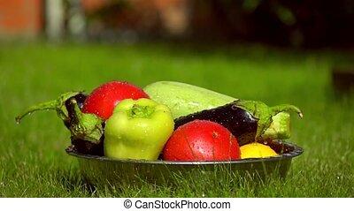 eau, lent, légumes, bol, gouttes, tas, fps, vidéo, tomber, super, mouvement, 500