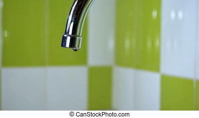 eau, lent, robinet, égouttement, mouvement, sink.