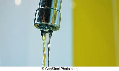 eau, lent, robinet, fluxs, mouvement, sink.