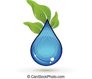 eau, logo, goutte, vert, pousse feuilles