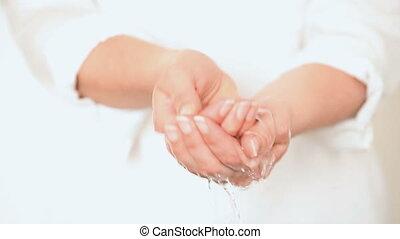 eau, mains, closeup, lavage