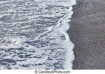 eau, mer, soir, vague, time.