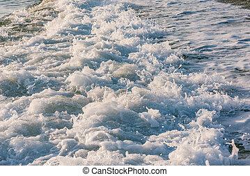 eau, mer, vague, sunset.