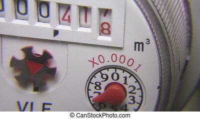 eau, metering, closeup, appareil, compteur, consommation