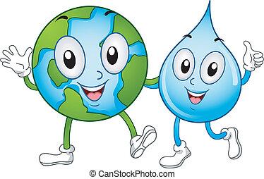 eau, mondiale, mascottes