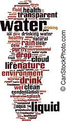 eau, mot, nuage