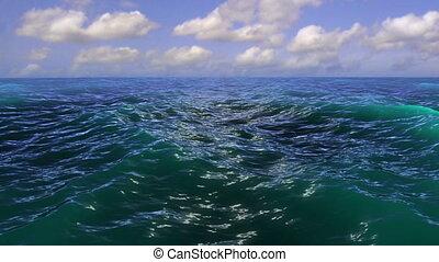 eau, nuages, horizon