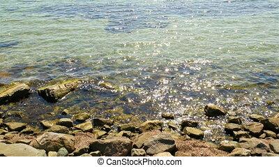 eau océan étincelante, 4k, mer, vagues