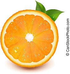 eau, orange, goutte, feuille, moitié