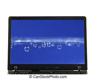 eau, ordinateur portable, écran, -, isolé