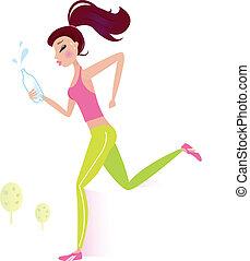 eau, ou, femme, jogging, bouteille, sain, courant