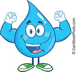 eau, projection, goutte, bras, muscle
