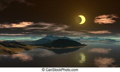 eau, reflété, lune