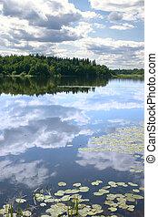 eau, reflet, ciel, lisser, surface