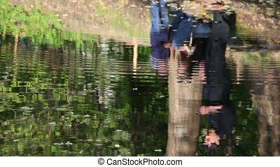eau, rivière, reflet, famille