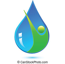 eau saine, goutte, homme, logo