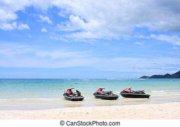eau, samui, koh, thaïlande, plage., scooter