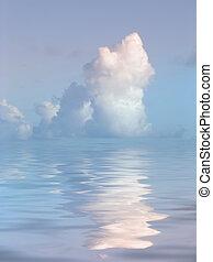 eau, serein, sur, nuage