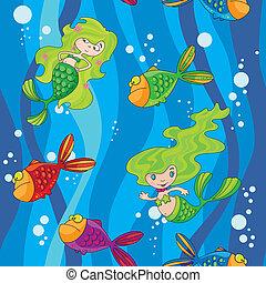 eau, sirènes, fish, seamless, vagues