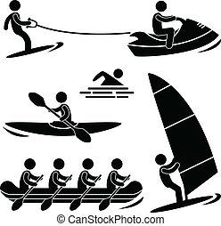 eau, skurfing, sport, rafting, mer