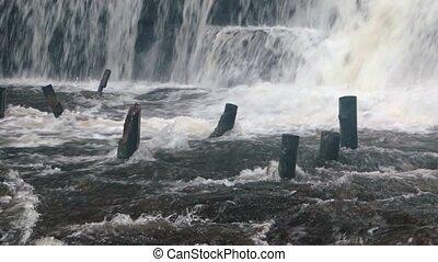 """eau, sound"""", vieux, phnom, cascades, chute eau, autour de, kulen, """"white, pilings"""