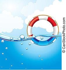 eau, sur, flotteur
