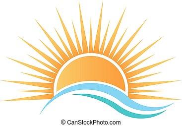 eau, sur, soleil, waves.