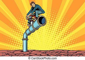 eau, tube, tuyau, sécheresse, retro, pendant, homme affaires