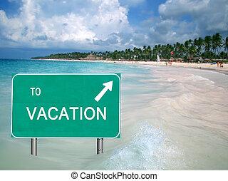 eau, vacances tropicales, signe