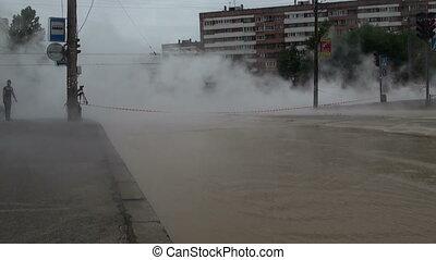 eau, ville, chaud, accident, renverser