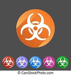 ebola, plat, biohazard, écusson, icône