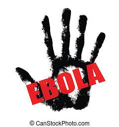 ebola, texte, impression, main