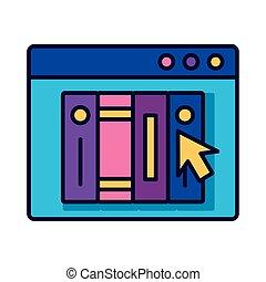 ebooks, style, webpage, education, gabarit, ligne, ligne, remplir, icône