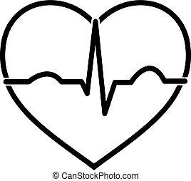 ecg, coeur, noir, blanc, minimal, icône