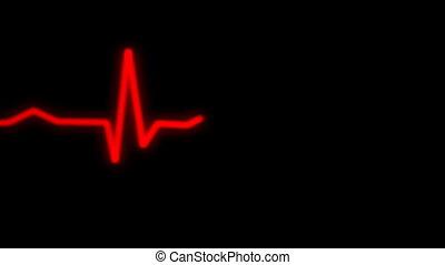 ecg, moniteur coeur, rouges, rythm