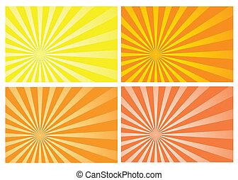 eclatement soleil, jaune, rayon