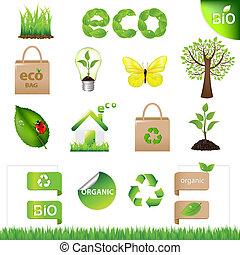 eco, éléments, conception, collection, icônes