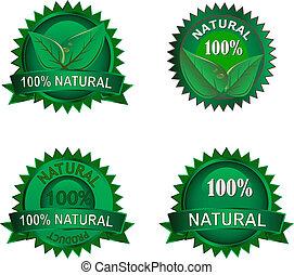 eco, étiquettes, naturel, ensemble