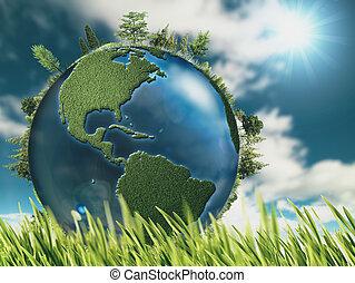 eco, arrière-plans, la terre, naturel, globe, herbe, vert